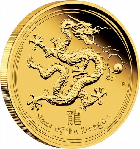 2012 Perth Mint Lunar Series 1/4oz gold proof coin - Dragon -