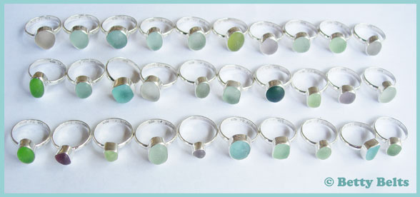 MINI Single Bezel, Single Band sea glass rings