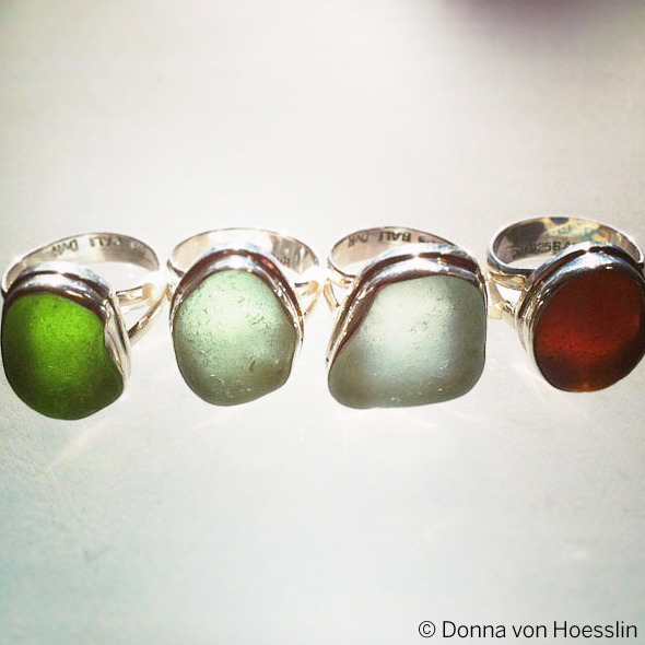 CLASSIC Double Bezel, Double Band sea glass rings in green, sea foam and warm brown