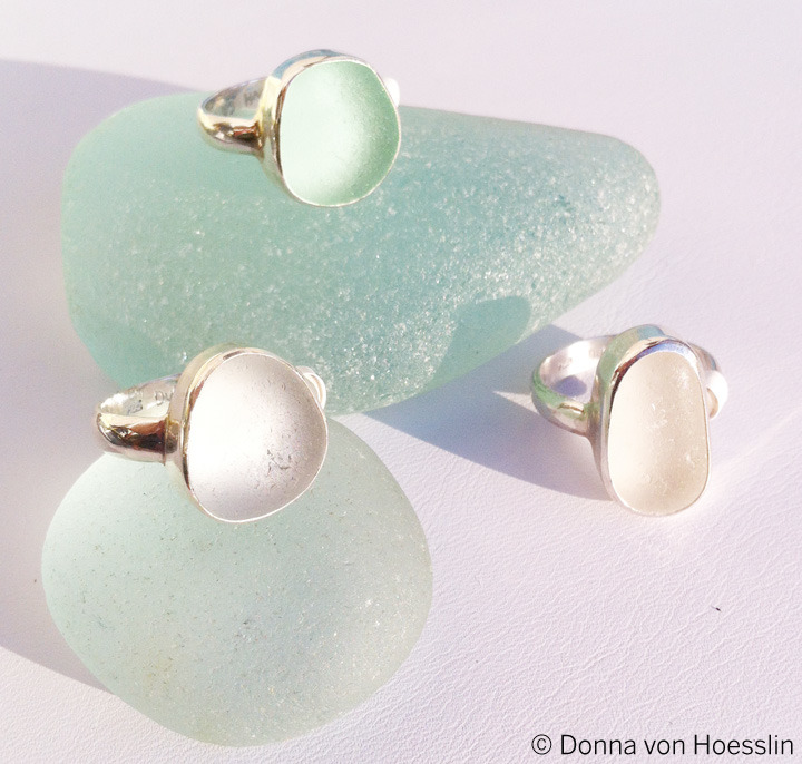 MEDIUM Single Bezel, Single Band sea glass rings in sea foam and white