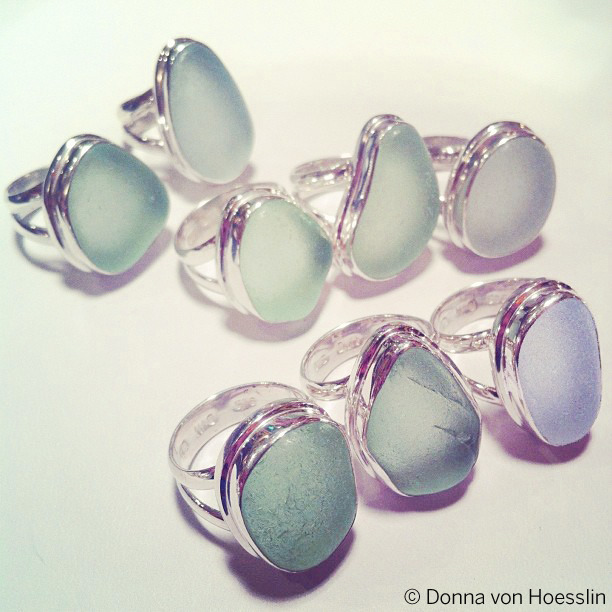 CLASSIC Double Bezel, Double Band Sea Glass Rings in sea foam and white