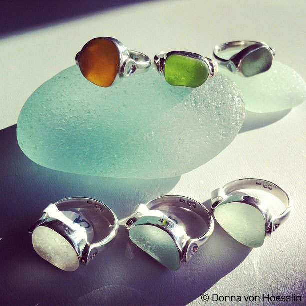 LUCKY sea glass ring, open back bezel, curved for comfort, horizontal setting