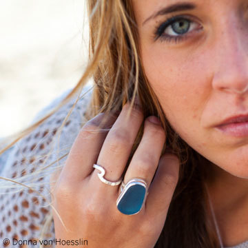 CLASSIC MEGA Sea Glass Ring in Bali Blue, shown with my wave ring (SKU #RIWS1)