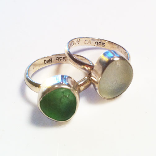 MINI Single Bezel, Single Band MINI Sea Glass Rings in green and sea foam