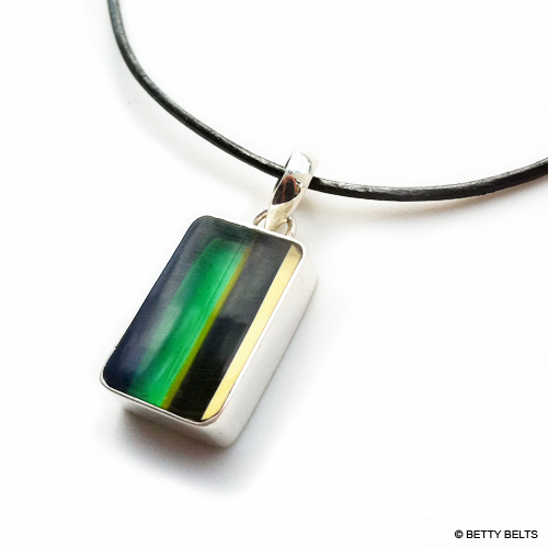Surfboard Resin Pendant with Sterling