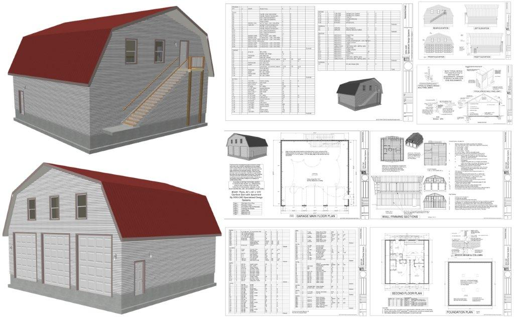 G491 plans 40 x 40 x 12 6 gambrel barn apartment for 40 x 40 apartment plans