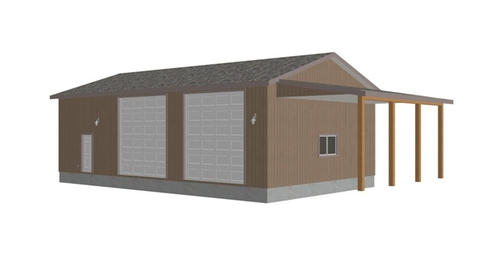 G393 detached RV Garage Plans
