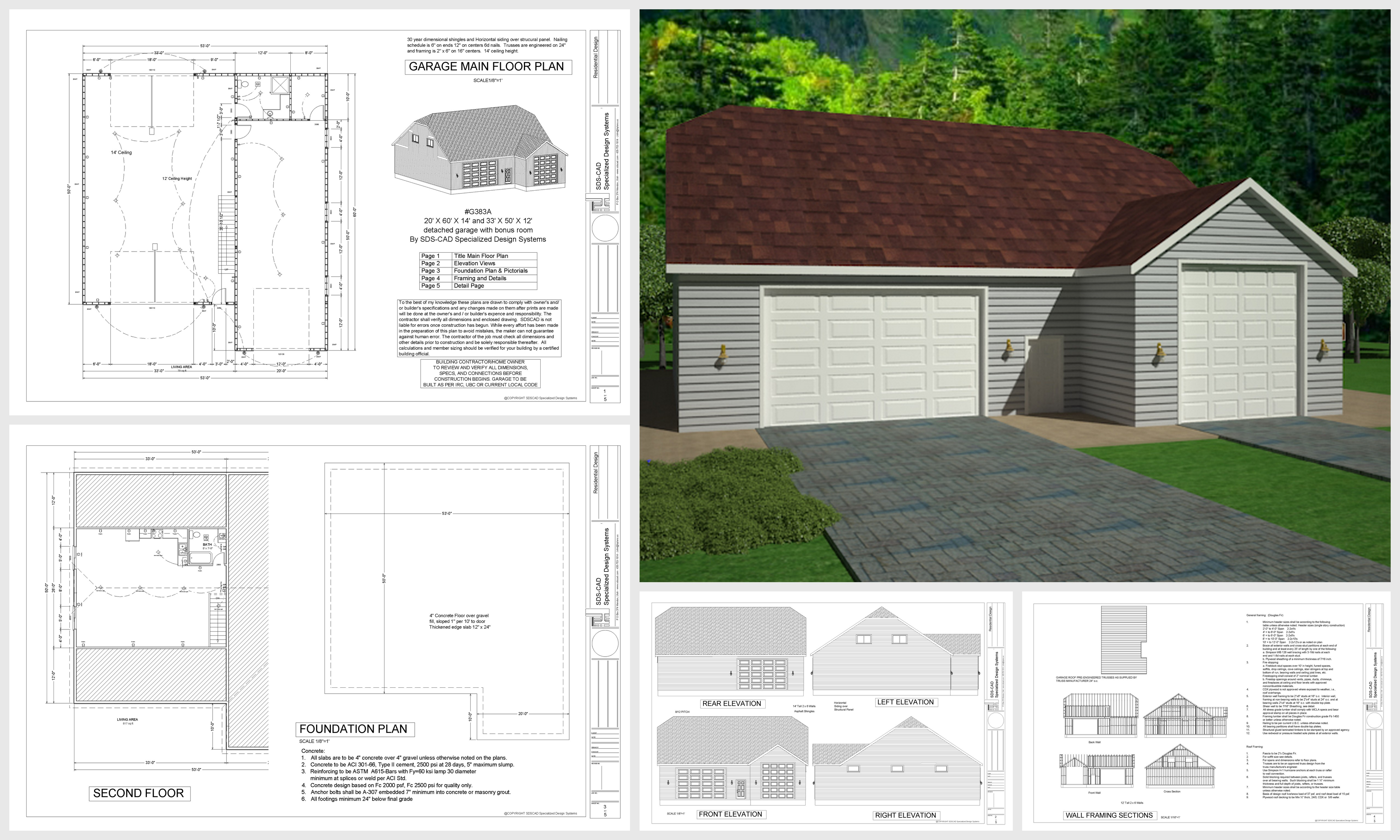 G383a 20 39 x 60 39 x 14 39 and 33 39 x 50 39 x 12 39 detached garage for 50 x 60 garage plans