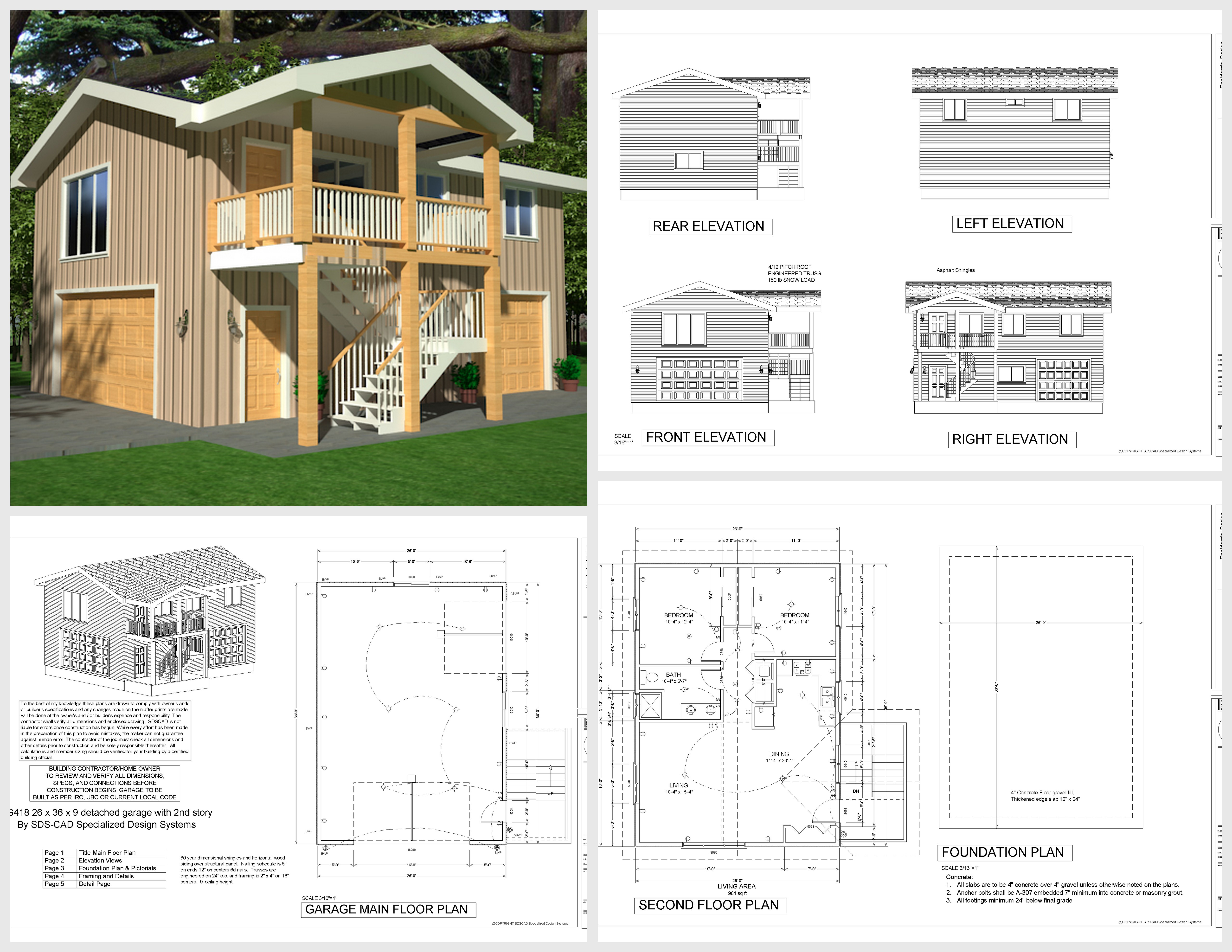 G418 apartment garage plans 26 x 36 x 9 with 2nd story for 36 x 36 garage with apartment