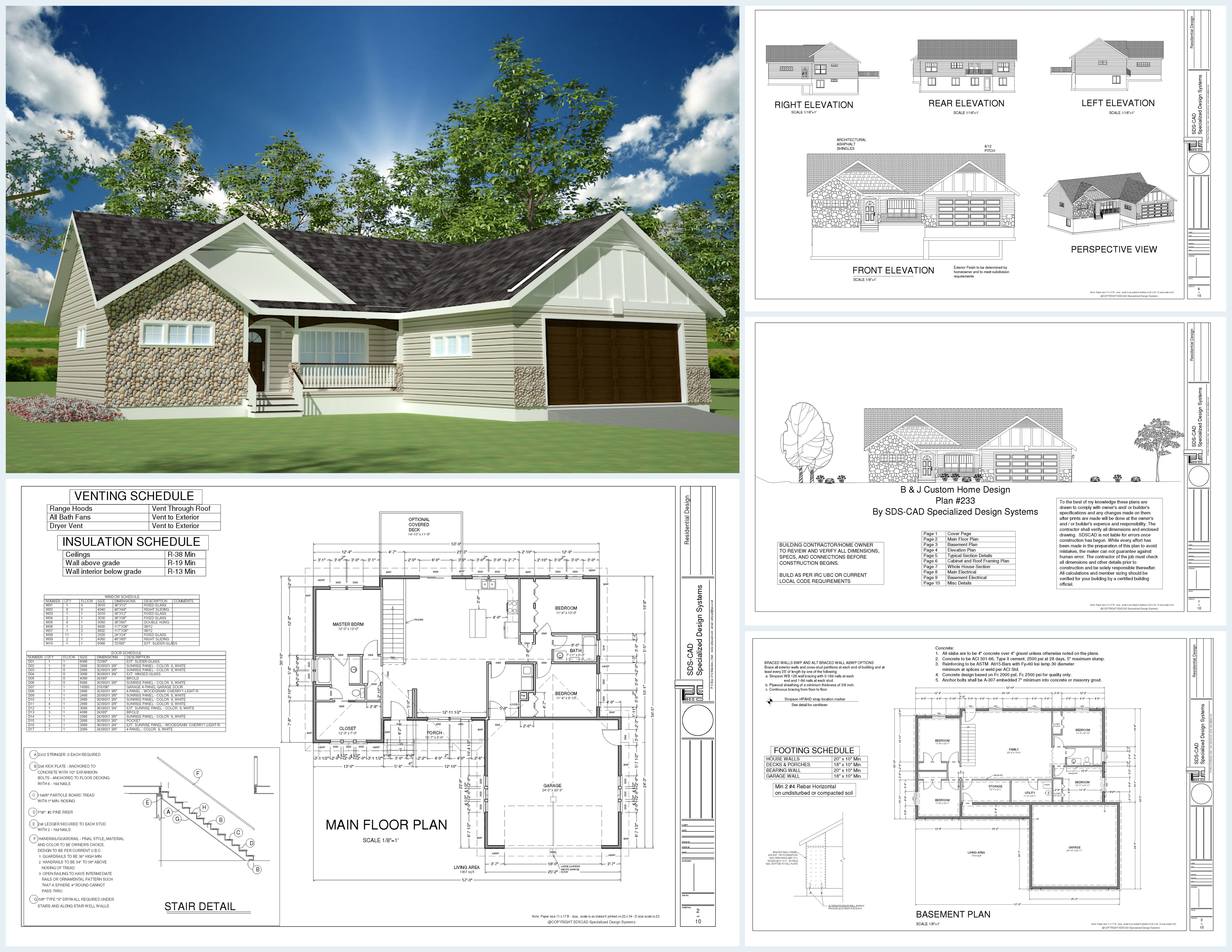 35561097 H233 1367 Sq Ft Custom Spec House Plans in both PDF and DWG File