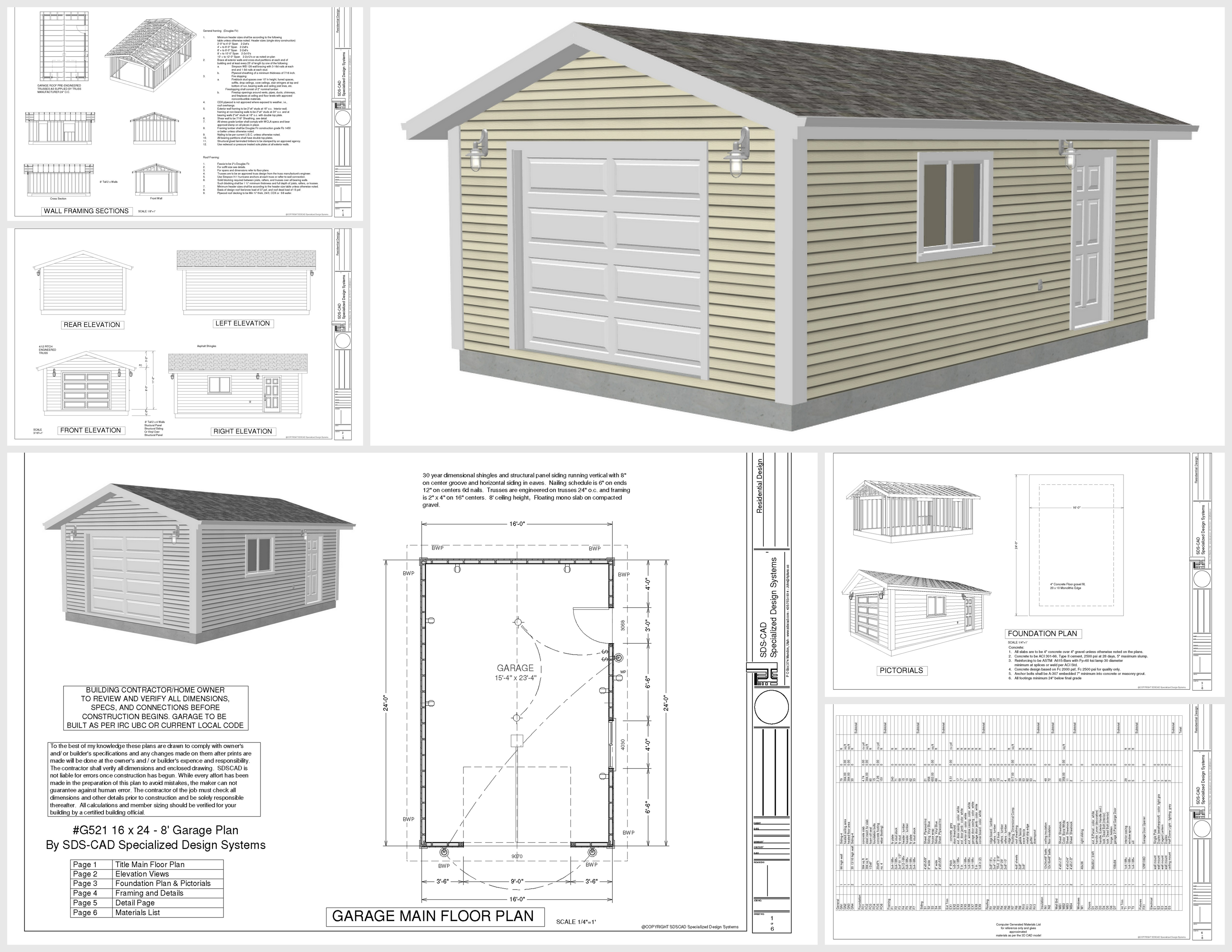 Free garage plans g521 16 x 24 x 8 garage plans pdf and dwg 16 car garage