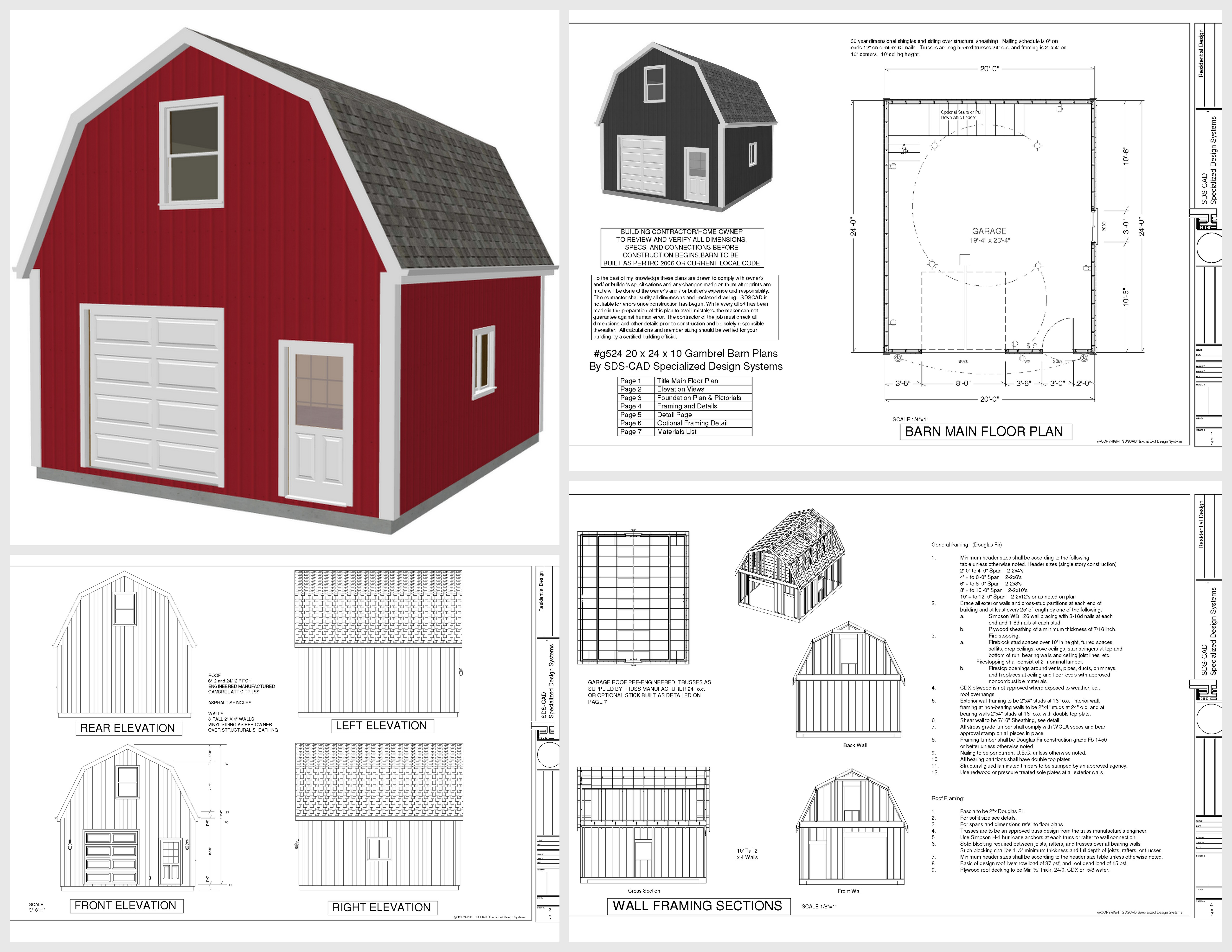 Garage plans sds plans for Small barn plans with loft