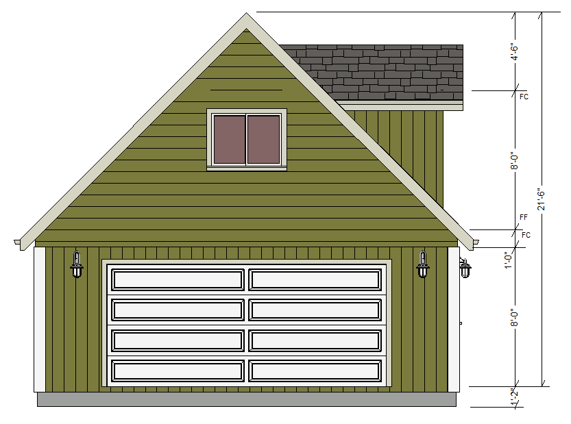 G527 24 x 24 x 8 garage plans with loft and dormers dwg for Dormer house plans designs