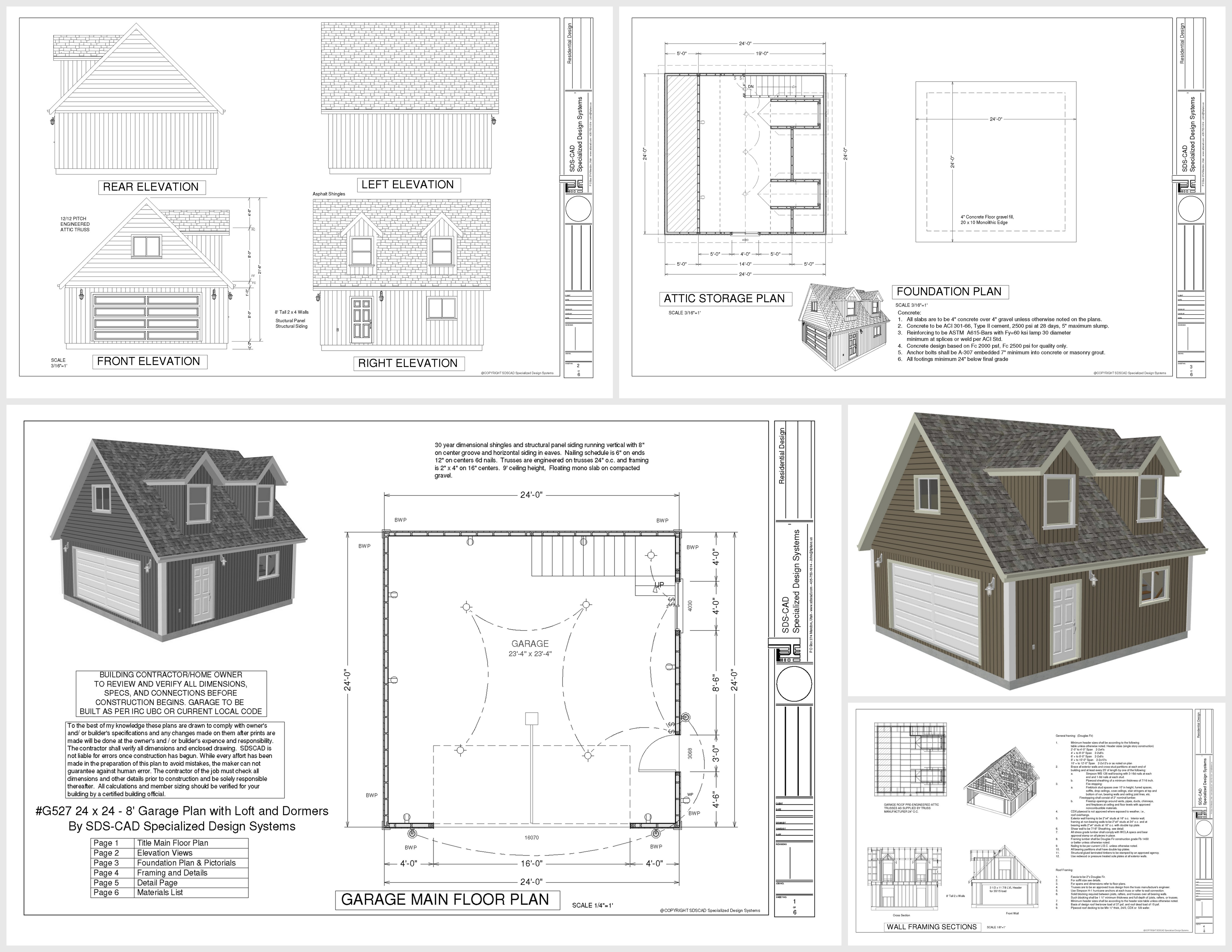 Free garage plans g527 24 x 24 x 8 loft and dormers dwg Free garage blueprints