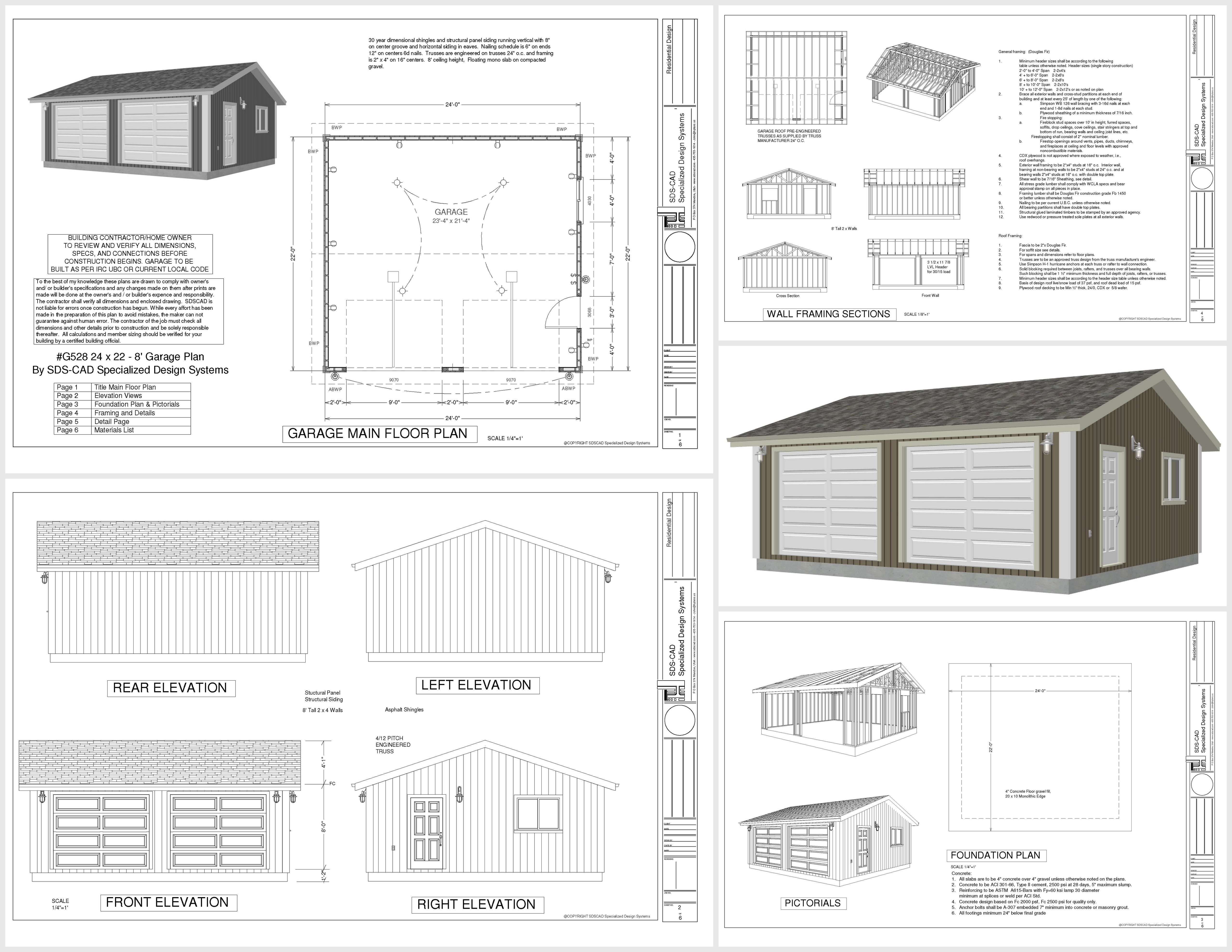 Free garage plans g528 24 x 22 x 8 garage plan pdf and dwg Free garage blueprints