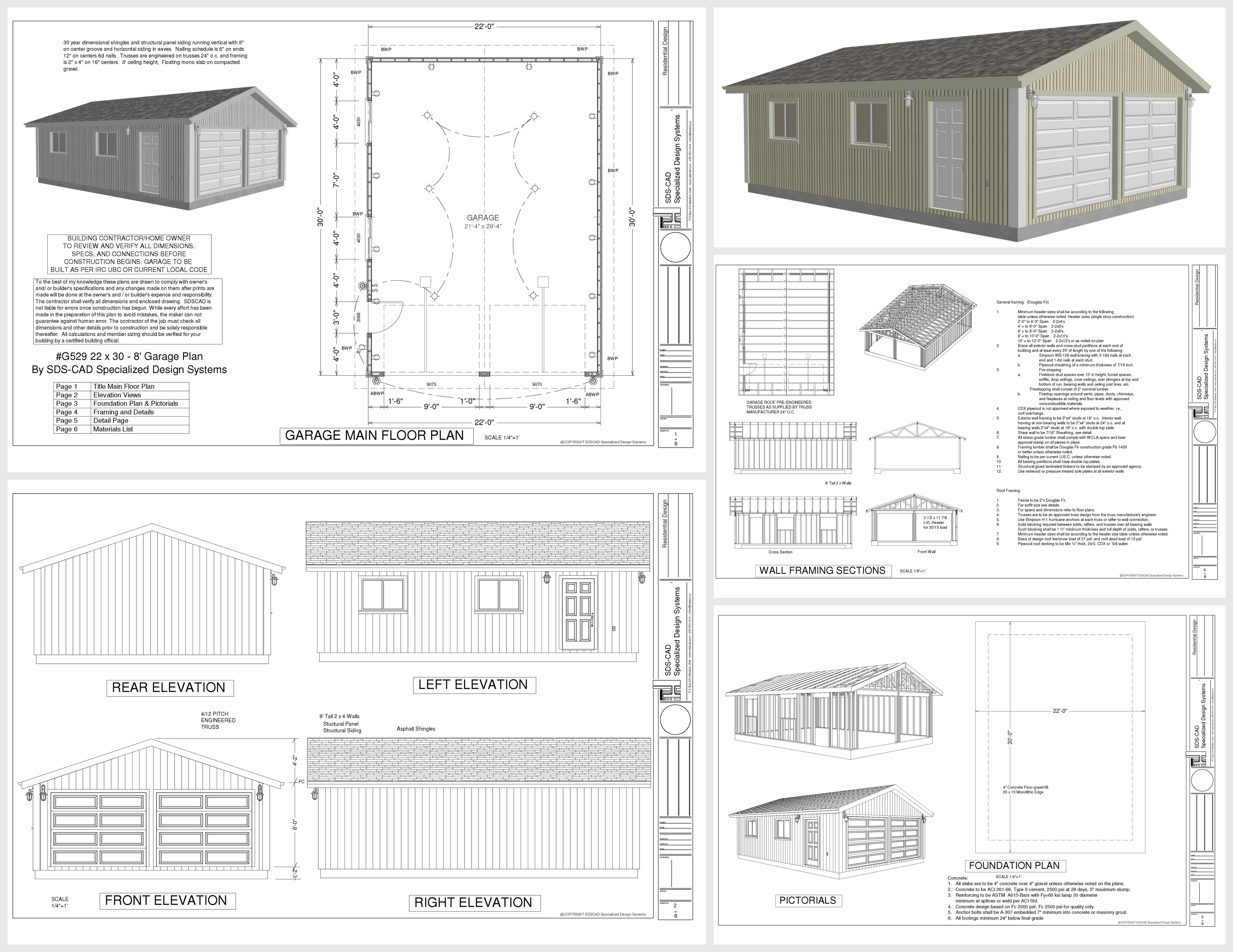 Free garage plans g529 22 x 30 x 8 garage plans dwg and pdf Free garage blueprints