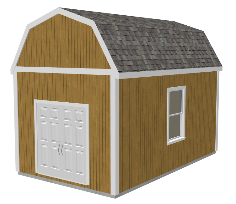 Free garage plans g530 12 x 20 x 10 slab gambrel barn dwg for Free pole barn plans with material list