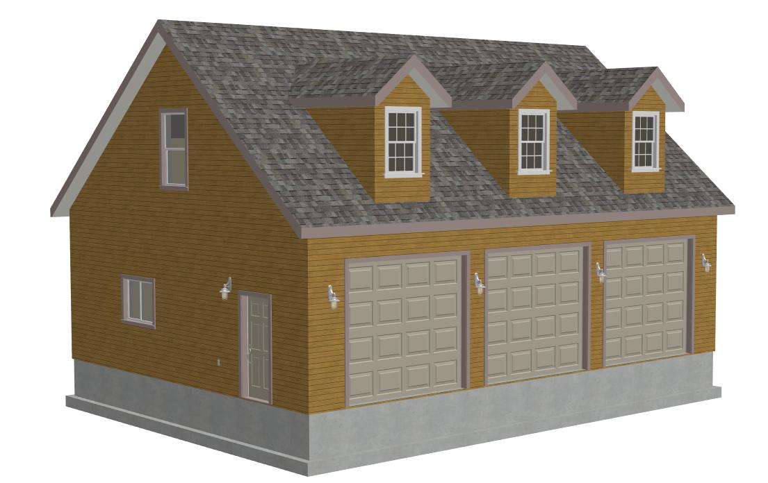 G532 30 X 40 X 10 3 Car Cape Cod Dormer Garage Plans With Bonus Room
