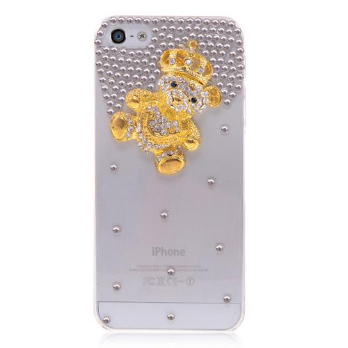 Кейс золотой мишка с короной для iPhone 5