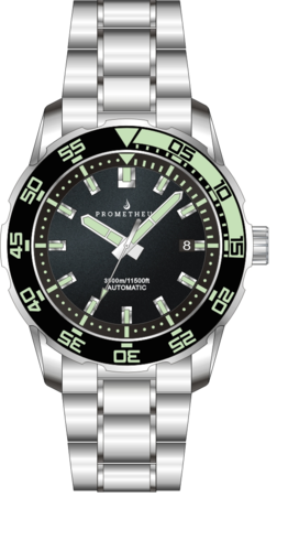 Prometheus Poseidon Stainless Steel Black Green Bezel 3500m Miyota 9015 Automatic Diver Watch