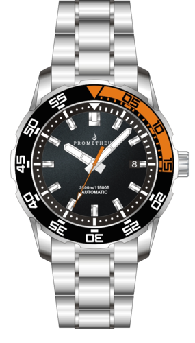 Prometheus Poseidon Stainless Steel Black Orange Bezel 3500m Miyota 9015 Automatic Diver Watch